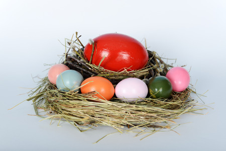 The nest with big ostrich and green, yellow, pink chicken easter eggs