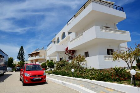 CRETE, GREECE - MAY 15: The hyundai i10 rent car is near hotel on May 12, 2014, Crete, Greece. Up to 16 mln tourists is expected to visit Greece in year 2014.