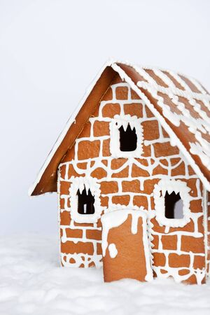 The hand-made eatable gingerbread house and snow decoration