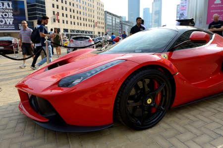 DUBAI, UAE - NOVEMBER 16: The Ferrari LaFerrari sportscar is on Dubai Motor Show 2019 on November 16, 2019