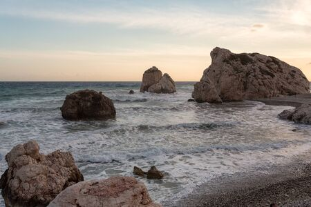 Sunset on the rocks of Aphrodite Stock Photo