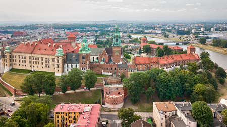 old photo: Krakow Wawel Castle from a height with the help of a drone Stock Photo