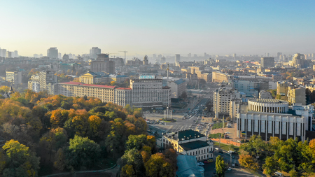 Autumn view of Kiev from the height of bird benefits. Фото со стока