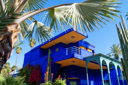 Jardin Majorelle by Yves Saint Laurent. Blue manor Stock Photo