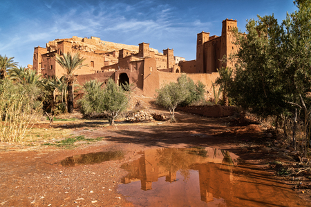 Amazing view of Kasbah Ait Ben Haddou near Ouarzazate in the Atlas Mountains of Morocco. Artistic picture. Beauty world.