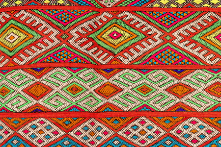 Set of banners with textures of berber traditional wool carpet with geometric pattern, Morocco, Africa