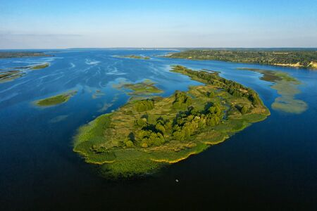 Islands on the Dnieper Ukraine-delineated dronphoto 2019 Year Stock Photo