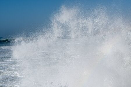 Big waves in the Atlantic Ocean - Perfect surf in the desert of Morocco, Africa. Фото со стока