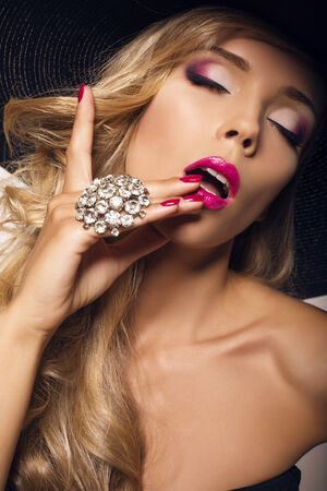 glamour makeup: fashion photo of sexy glamour model with bright makeup with bijouterie Stock Photo