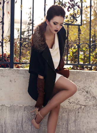 ladylike: fashion outdoor photo of beautiful ladylike woman with dark hair wearing elegant wool coat with fur and leather gloves