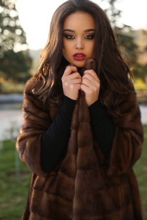 ladylike: fashion outdoor photo of beautiful sensual woman with dark hair and bright makeup wearing luxurious fur coat Stock Photo