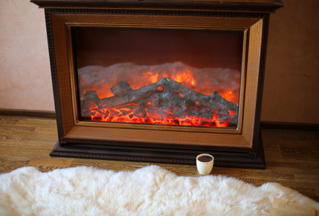 cosily: cozy interior photo of electrical fireplace and cup of coffee
