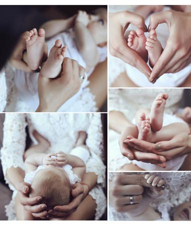 recien nacido: hermoso collage de fotos de familymother con su bebé