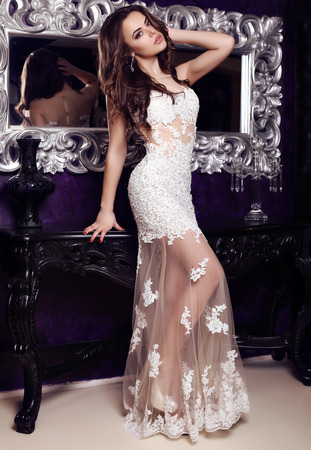 fashion photo of gorgeous woman with dark hair  in elegant lace dress posing in luxurious interior Stock Photo