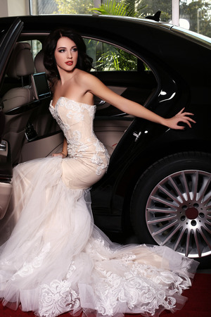 lady in red: fashion photo of gorgeous woman with dark hair wears luxurious dress,posing beside a black car, arrived on red carpet event Stock Photo