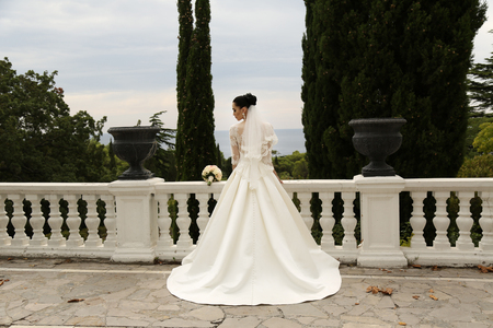 fashion outdoor photo of gorgeous bride with dark hair wears elegant wedding dress, posing in park 스톡 콘텐츠