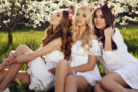 fashion outdoor photo of gorgeous sensual women with luxurious hair in elegant dresses and flowers headband, posing in blossom garden Stock Photo