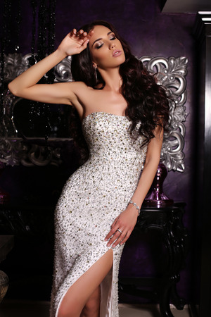 fashion interior photo of gorgeous woman with long dark hair in luxurious dress  with accessories