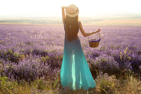fashion girl: fashion outdoor photo of gorgeous sensual woman with dark long hair in elegant outfit posing at blossom lavender field