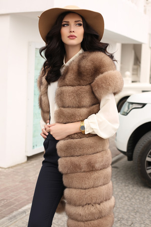 fashion outdoor photo of gorgeous sensual woman with dark hair in elegant clothes and luxurious fur coat, walking by autumn city Stock Photo