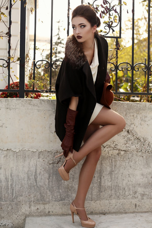 leather gloves: fashion outdoor photo of gorgeous sensual woman with dark hair in elegant luxurious coat, wool hat and leather gloves, walking by autumn city Stock Photo