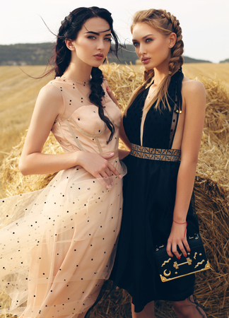 fashion outdoor photo of gorgeous girls in casual clothes posing on the hay 스톡 콘텐츠