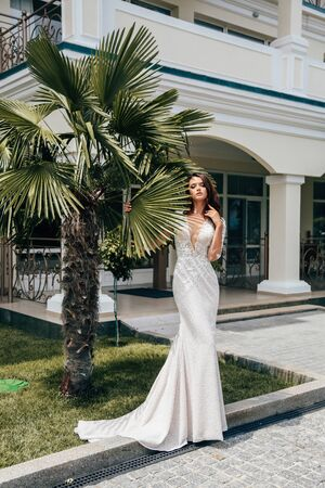 fashion outdoor photo of beautiful woman with dark hair in luxurious wedding dress posing in summer park Stock fotó - 129300213