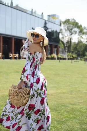 fashion outdoor photo of beautiful girl with blond hair in elegant clothes and accessories Stock fotó