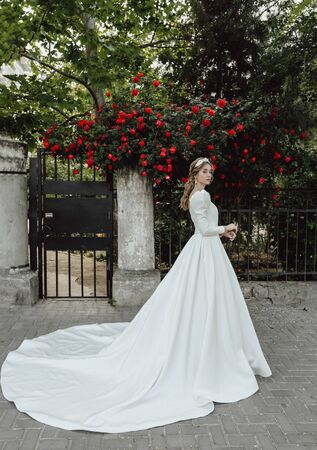 Beautiful bride with blond hair in luxurious wedding dress posing in the spring garden with blooming roses bushes