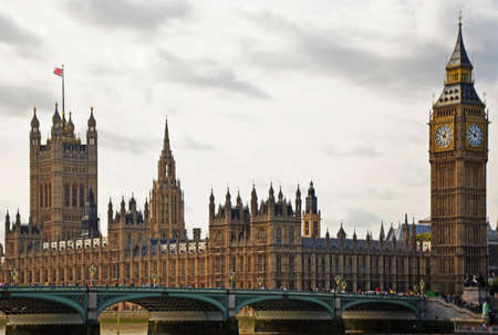 A view at Big Ben and Westminster Bridge