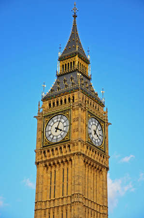 A view at Big Ben on a shiny day.  Editorial