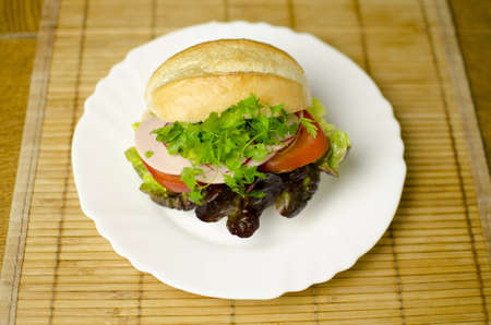 A burger is placed on a white plate. Shallow depth of the field.  Stock Photo