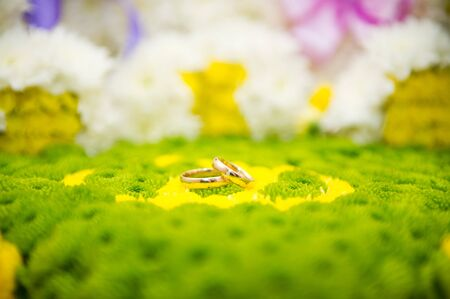 two wedding rings on greens Standard-Bild - 129351917