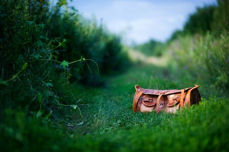 orange stylish leather travel bag on a path among green thickets. copy space Stockfoto