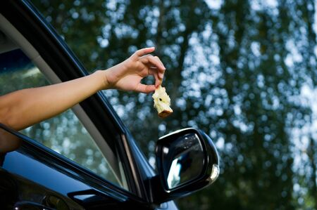 The girl is holding outside and is about to throw an apple core out of the open car window. Bottom view, against the background of blurry trees and sky, summer day. Close up