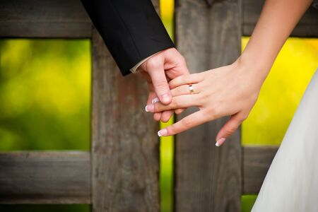 the groom gently holds the brides hand on the background of a massive wooden collar, behind which a bright forest. close up Imagens