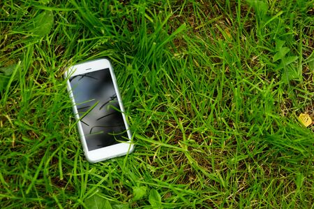 A white mobile phone with a dark screen lies in the green grass with the screen up. Smartphone in the meadow. Copy space