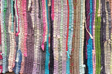 texture of handmade woven fabric from fragments of different thicknesses