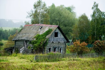 abandoned private house without windows in the village