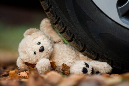 teddy bear crushed by a car wheel, close up