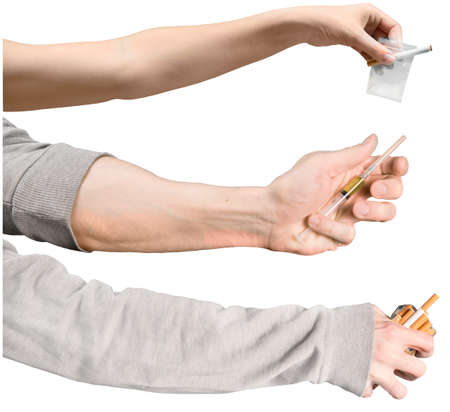 set of female and male hands with drugs and cigarettes. Three hands with objects of poor lifestyle. Isolated on white