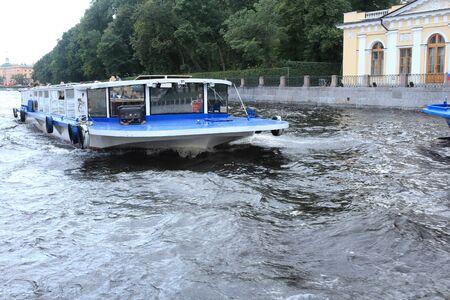 and st petersburg: River Fontanka. St. Petersburg. Walking ship. Editorial