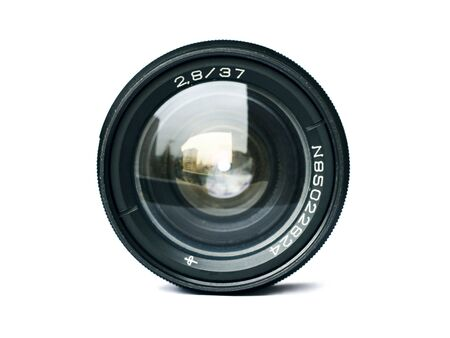 camera lens: Black camera lens isolated in white background