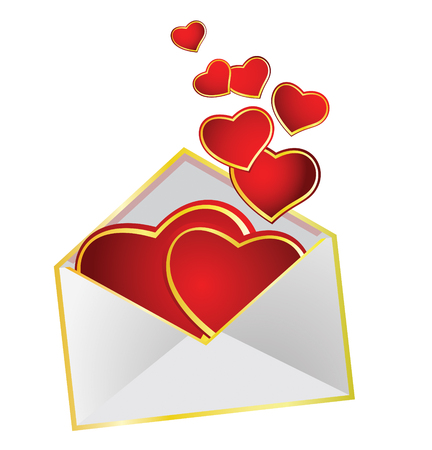 sent: Vector illustration. Love hearts sent by mail in an envelope