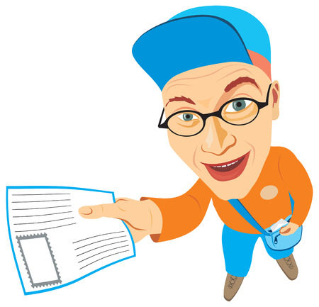 mail truck: Cheerful mailman holding a letter in his hand. Vector illustration Illustration