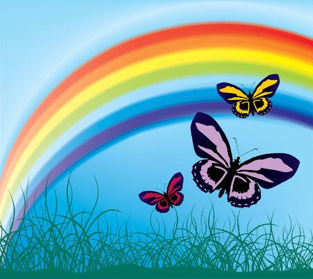 vol des papillons dans le contexte d'un arc-en-ciel (maillage et vecteur)