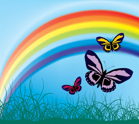 flying butterflies against the backdrop of a rainbow (mesh and vector) Stock Vector - 3173645
