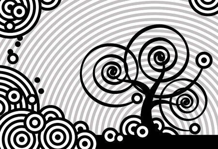 Stylized tree, black and white circles Vector