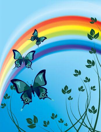 papillons volant dans le contexte d'un arc en ciel (maillage et vecteur)