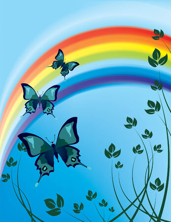 flying butterflies against the backdrop of a rainbow (mesh and vector) Stock Vector - 3206385